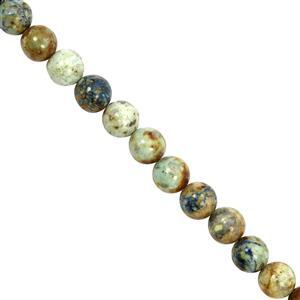 85cts Azurite Chrysocolla Smooth Round Approx 8mm, 20cm Strand