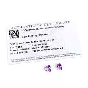 2.35cts Rose du Maroc Amethyst Triangle Brilliant 8x8mm