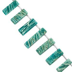 65cts Amazonite Graduated Top Side Drill Plain Bar Approx 13.5x6.5 to 27x8mm, 9cm Strand with Spacers