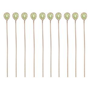 Rose Gold Plated 925 Sterling Silver Head Pins With 4x3mm Pear Peridot - 40mm, Width 0.5mm - (10pcs)