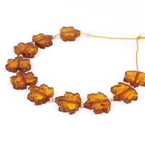 Baltic Cognac Amber Maple Leaf Beads Approx 13x12mm Inc. Sterling Silver Spacer Bead, 10 Pc