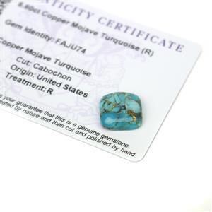 6.6cts Copper Mojave Turquoise 14x14mm Cushion  (R)