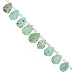 45cts Sleeping Beauty Turquoise Top Side Drill Faceted Pear Approx 7x4 to 12x8mm, 20cm Strand with Spacers