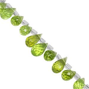 25cts American Peridot Top Side Dril Graduated Faceted Drop Approx 4x2.5 to 7x4.5mm, 20cm Strand with Spacers