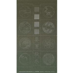 Sashiko Tsumugi Preprinted Kamon 20 Dark Green Fabric Panel 108x61cm