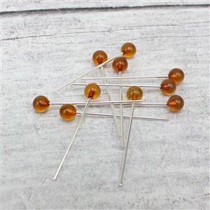 Baltic Cognac Amber 5mm Round Bead 32mm 925 Silver Headpins (10pcs)