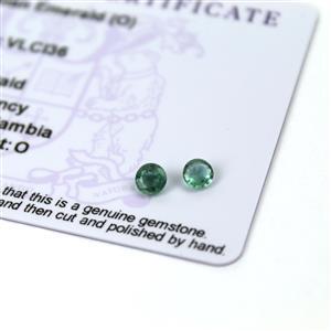 0.5cts Zambian Emerald 4.5x4.5mm Round Pack of 2 (O)