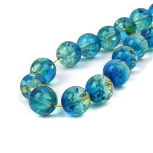 Baltic Sapphire Blue Ombre Amber 10mm Rounds, 20cm Strand