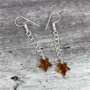 Baltic Cognac Amber Star Bead with sterling silver spacers Approx 10mm