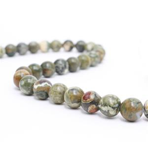 250cts Rhyolite Plain Round Loose Beads Strand Approx 10mm 38cm