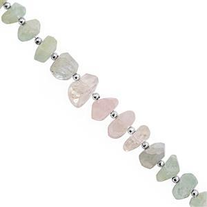 100cts Multi Beryl Graduated Faceted Unusual Tumble Approx 8.5x3 to 17x8mm, 14c,m Strand with Spacers