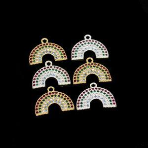 Gold & Silver Plated Base Metal Rainbow Charm with Multi-Colour CZ, Approx. 14mm 6pcs.