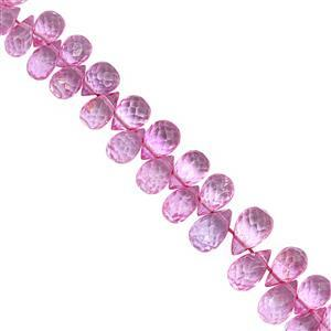 55cts Pink Colour Coated Topaz Top Side Drill Faceted Drop Approx 5x3 to 8.5x5mm , 17cm Strand with Spacers
