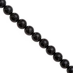 120cts Black Tourmaline Smooth Round Approx 8mm, 20cm Strand
