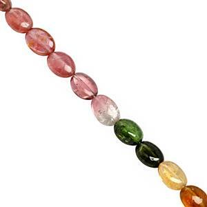 22cts Multi-Colour Tourmaline Smooth Oval Approx 4.5x4 to 6.5x4.5mm, 20cm Strand