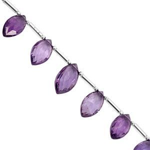 25cts Uruguayan Amethyst Top Side Drill Graduated Faceted Marquise Approx 10x6 to 13.5x8.5mm, 16cm Strand with Spacers