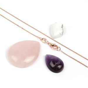 Cabochon Bundle; Amethyst, Rose Quartz & Howlite Pears with 925 Rose Gold Curb Chain