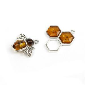 Baltic Cognac Amber Sterling Silver Honeycomb & Bee Pendants Approx. 17x16mm & 15x15mm
