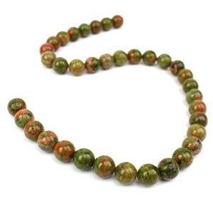 325cts Unakite Plain Round Approx 10mm, 38cm Loose Strands