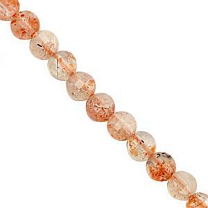 20cts Sunstone Faceted Flat Coin Approx 4mm, 30cm Strand