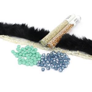 Night Sky Kit; Black Fur, Fire Polish, Seed Beads & Ethiopian Opal