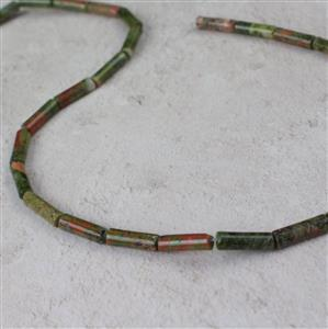 60cts Unakite Tubes Approx 4x13mm, 38cm strand