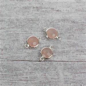 925 Sterling Silver High Polished Bezel Connectors Approx 12x8mm Inc. 3.50cts Pink Chalcedony Briolette Rounds 7mm. (BOPK54)