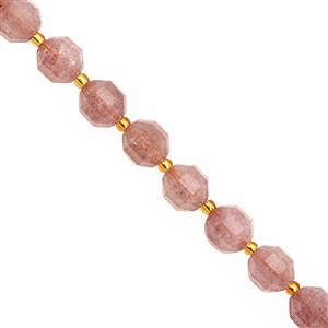 92cts Strawberry Quartz Faceted Lantern Approx 9.5x8.5 to 10x9mm, 20cm Strand with Spacers
