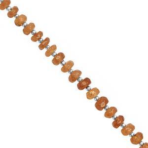 25cts Mandarin Garnet Faceted Roundelles Approx 3.5x1 to 5x3mm, 19cm Strand with Spacers