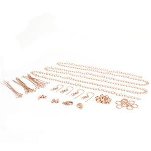 Rose Gold Plated Base Metal Essential Findings Pack