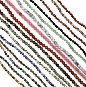 1765cts Assorted Gemstones Plain Rounds Approx 6mm Set of 16 38cm strands