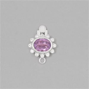 925 Sterling Silver Gemset Box Clasp Approx 19x14mm Inc. 1.50cts Amethyst Brilliant Oval & 0.20cts White Topaz Brilliant Round (BUPK43)