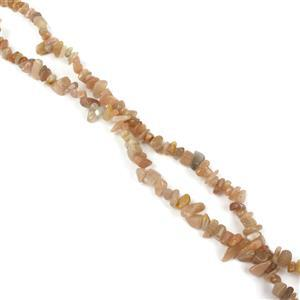 "830cts Peach Moonstone Chips Approx 4x7 to 5x8mm, 100"" Endless Chips Strands"