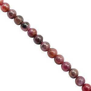 118cts Ruby Plain Bead Round Approx 5 to 5.50mm, 38cm Strand