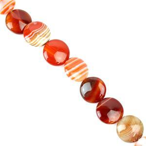 295cts Red Stripe Agate Puffy Coins Approx 16mm, 38cm/strand