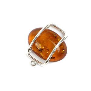 Baltic Cognac Amber Sterling Silver Floating Pendant Approx 23x22mm