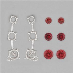 925 Sterling Silver Ear Climber Mount Fit Rounds Inc. 3.8cts Red Garnet Brilliant Rounds