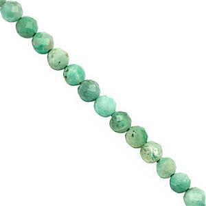 12cts Emerald Micro Faceted Round Approx 3mm, 30cm Strand