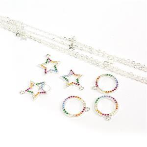 Silver Plated Base Metal Charms With Multi-colour CZ & C1m Chain.