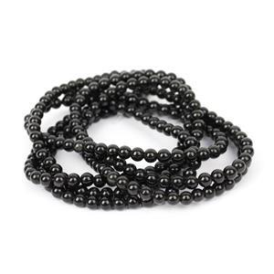 8am Special! 3x 40cts Black Obsidian Plain Rounds Approx 4mm, 38cm Strand