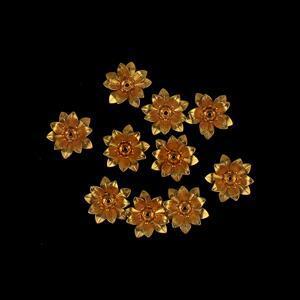 Golden Brass Bead Caps Approx 15mm 10pk