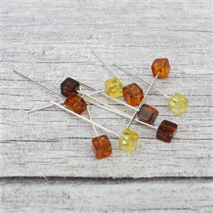 Baltic Multi-Colour Amber 5mm Cube Bead 32mm 925 Silver Headpins (10pcs)