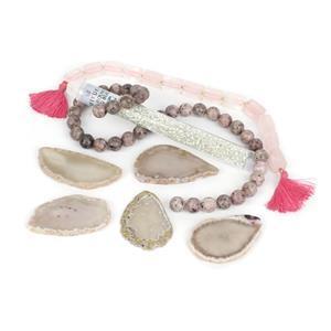 Grey Agate Slabs Kit; Agate, Quartz, Jasper & Seed Beads
