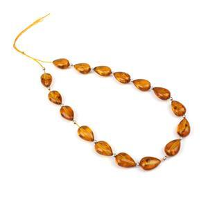 Baltic Cognac Amber Drop Beads Approx 11x7mm Inc Sterling Silver Spacers, 20cm Strand