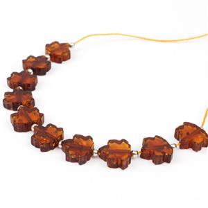 Baltic Cognac Amber Maple Leaf Beads Approx 10x9mm  Inc. Sterling Silver Spacer Beads, 10 Pc Strand