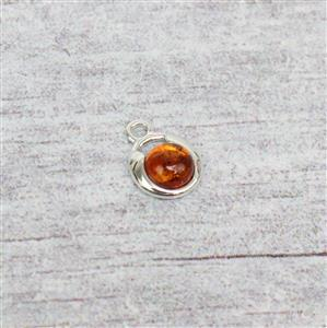 Baltic Cognac Amber Round Cabochon Sterling Silver Charm Approx 9x12mm