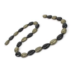"210cts Pyrite And Black Obsidian Pears Approx 10x14mm 15"" Strand"