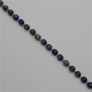 180cts Dyed Blue & Green Lapis Lazuli Faceted Satellite Beads Approx 9x10mm, 38cm Strand