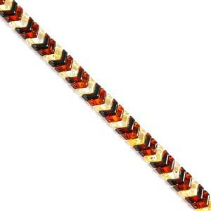 Baltic Multi Colour Amber Double Drilled Chevron Bead Strand Approx. 7x10mm, 20cm Strand (Cognac, Cherry, Lemon)