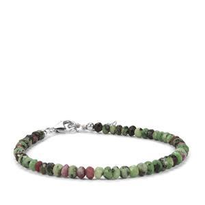 24.50ct Ruby-Zoisite Sterling Silver Bead Bracelet